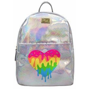 Betsey Johnson Silver Rainbow Heart Backpack Shiny